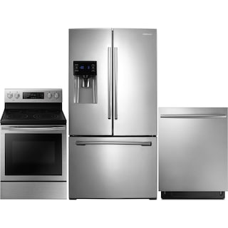 Samsung 26 Cu. Ft. French-Door Refrigerator, 5.9 Cu. Ft. Electric Range and Dishwasher