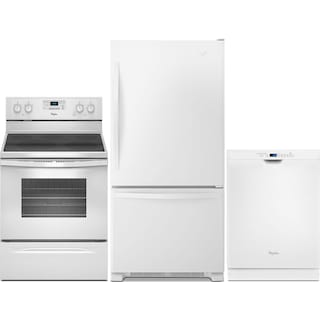 Whirlpool 18.5 Cu. Ft. Refrigerator, 5.3 Cu. Ft. Electric Range and Built-In Dishwasher – White
