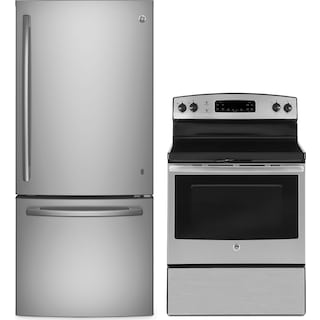 GE 21 Cu. Ft. Bottom-Mount Refrigerator and 5.0 Cu. Ft. Electric Range – Stainless Steel