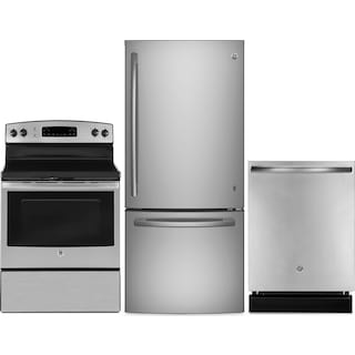 GE 21 Cu. Ft. French-Door Refrigerator, 5.0 Cu. Ft. Electric Range and Dishwasher – Stainless Steel