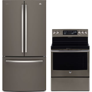 GE 25 Cu. Ft. French-Door Refrigerator and 5.0 Cu. Ft. Electric Range – Slate