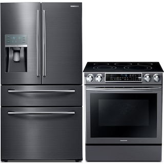 Samsung 27.8 Cu. Ft. Refrigerator and 5.8 Cu. Ft. Electric Range – Black Stainless Steel