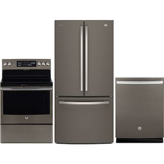 GE 25 Cu. Ft. French-Door Refrigerator, 5.0 Cu. Ft. Electric Range and Dishwasher – Slate