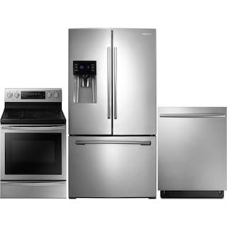 Samsung 26 Cu. Ft. Refrigerator, 5.9 Cu. Ft. Range and Dishwasher – Stainless Steel