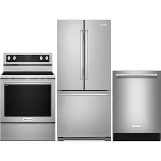 KitchenAid 19.7 Cu. Ft. Refrigerator, 6.4 Cu. Ft. Range and Dishwasher – Stainless Steel