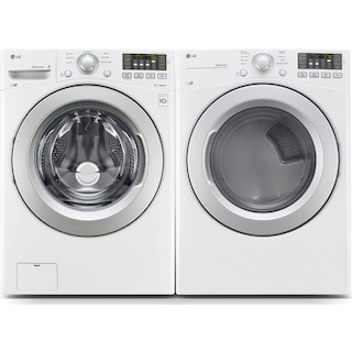 LG 5.2 Cu. Ft. Front-Load Washer and 7.4 Cu. Ft. Electric Dryer – White