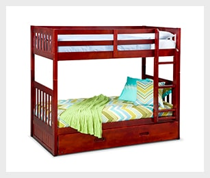 Ranger merlot twin/twin bunk bed with trundle