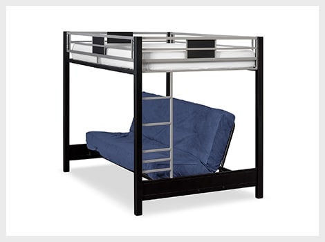 Samba full futon bunk bed with blue futon mattress
