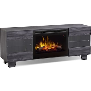 "La Mirada 62"" TV Stand with Log Firebox – Carbon"
