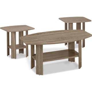 Tramore 3-Piece Coffee and Two End Tables Package – Dark Taupe
