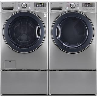LG TWIN Wash™ 5.2 Cu. Ft. Washer, 7.4 Cu. Ft. Gas Dryer, Pedestal Washer and Storage Pedestal