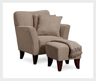 Celeste Chair, Ottoman, Pillows and Throw - Taupe