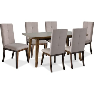 Temecula 7-Piece Dining Table Package with Beige Chairs