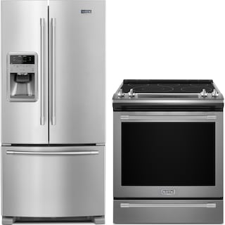 Maytag 22 Cu. Ft. French-Door Refrigerator and 6.4 Cu. Ft. Slide-In Electric Range