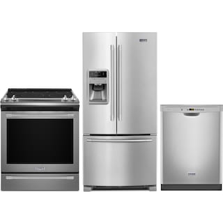 Maytag 22 Cu. Ft. French-Door Refrigerator, 6.4 Cu. Ft. Electric Range and Built-In Dishwasher