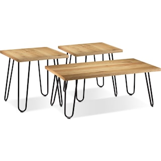 Tennyson Coffee Table and Two End Tables - Light Oak
