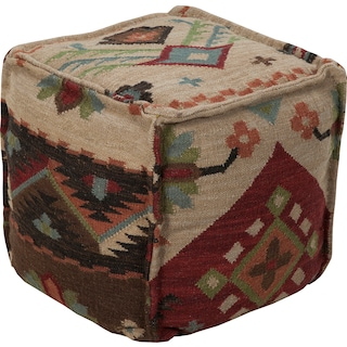 Eleonora Cube Pouf - Tribal Red