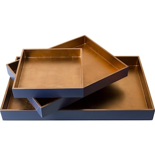 Antra Serving Tray - Blue (Set of 3)