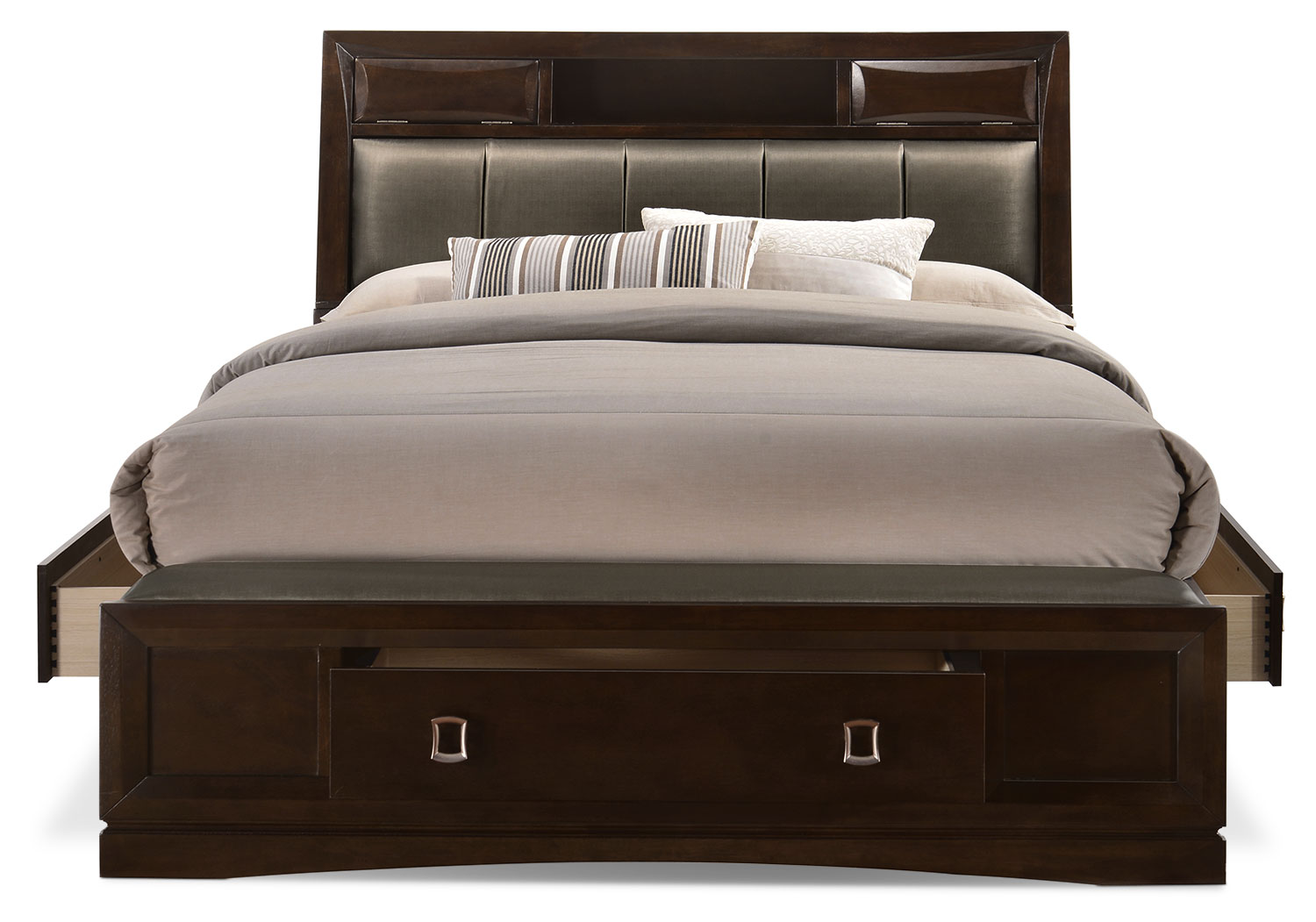 Beanston queen bookcase storage bed for Bedroom furniture queen storage bed