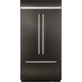 KitchenAid Black Stainless Steel French Door Refrigerator (24.2 Cu. Ft.) - KBFN502EBS