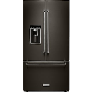 KitchenAid Black Stainless Steel Counter-Depth French Door Refrigerator (23.8 Cu. Ft.) - KRFC704FBS