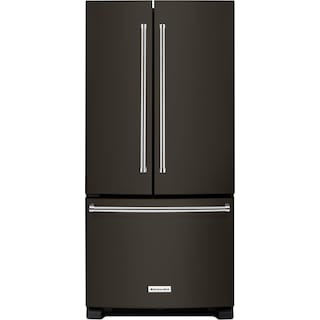 KitchenAid Black Stainless Steel Counter-Depth French Door Refrigerator (21.9 Cu. Ft.) - KRFC302EBS