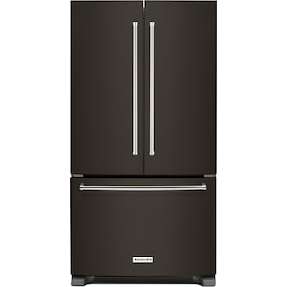 KitchenAid Black Stainless Steel French Door Refrigerator (25.2 Cu. Ft.) - KRFF305EBS