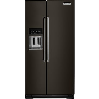 KitchenAid Black Stainless Steel Side-by-Side Refrigerator (22.65 Cu. Ft.) - KRSC503EBS