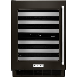 KitchenAid Black Stainless Steel Wine Cooler (4.7 Cu. Ft.) w/ Left-Door Swing - KUWL304EBS