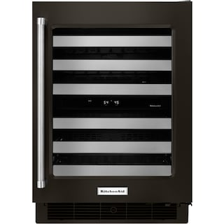 KitchenAid Black Stainless Steel Wine Cooler (4.7 Cu. Ft.) w/ Right Door-Swing - KUWR304EBS