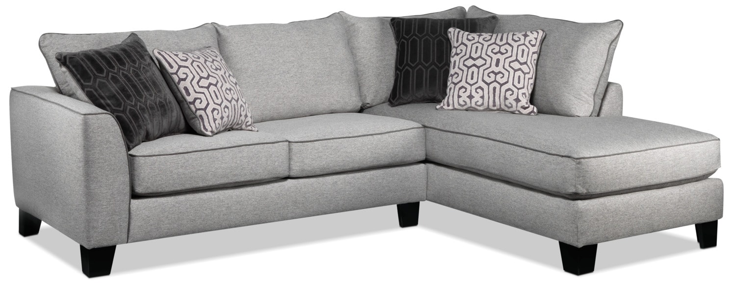 Fitzgerald 2 Piece Sectional With Chaise Grey