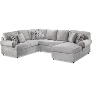 Macon 4-Piece Left-Facing Sectional with Chaise - Ash