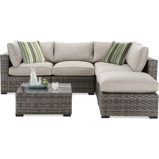 Maëlle 5-Piece Outdoor Modular Sectional and Coffee Table Set - Beige