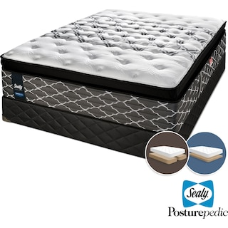 Sealy Wishful Dreams Hybrid Cushion Firm King Mattress and Low-Profile Split Boxspring Set