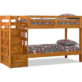 Loddon Twin Bunk Bed with Storage and Stairs