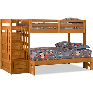 Loddon Twin/Full Bunk Bed with Storage and Stairs