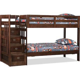 Dorete Twin Bunk Bed with Storage and Stairs