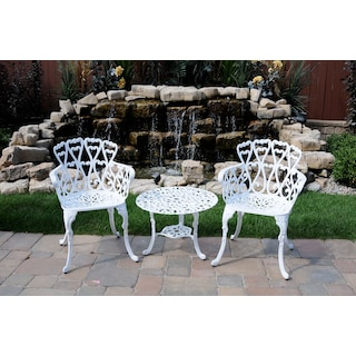 Jour Round Outdoor Coffee Table - White