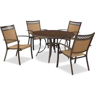 Bertha 5-Piece Patio Dining Set with Sling Chairs