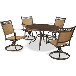 Bertha 5-Piece Patio Dining Set with Swivel Chairs