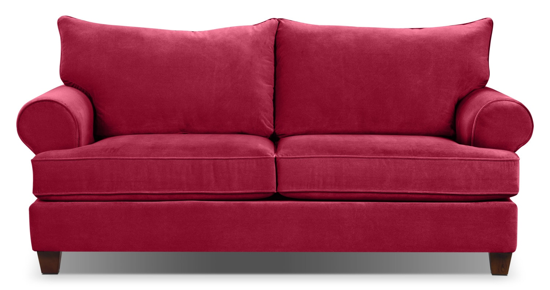 Living Room Furniture - Prescot Sofa - Red