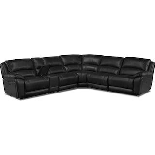 Mallone Sectional 6-Piece Power Reclining Sectional - Black