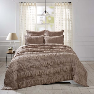 Valentine Warm Taupe Lux King Set - 1 Quilt & 2 Shams